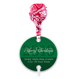 Personalized Merry Wishes Christmas Dum Dums with Gift Tag (75 pops)