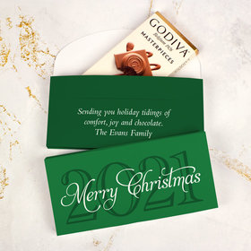Deluxe Personalized Merry Wish Christmas Godiva Chocolate Bar in Gift Box