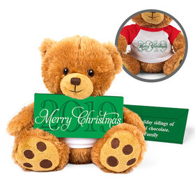Personalized Merry Christmas Teddy Bear with Embossed Chocolate Bar in Deluxe Gift Box