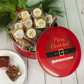 Personalized Christmas Add Your Logo Santa Buckle Tin with Brownies (approx 16 pcs)