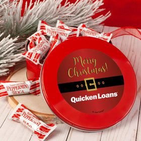 Personalized Christmas Santa Buckle Add Your Logo Red Tin with Dark Chocolate Peppermint Roca (approx 25 pcs)