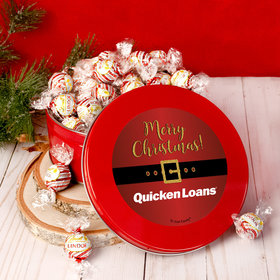 Personalized Christmas Add Your Logo Santa Buckle Tin with Lindt Truffles (approx 45 pcs)
