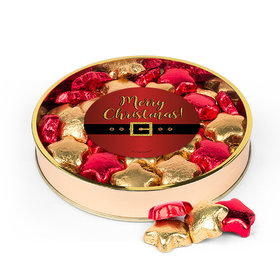 Christmas Santa Buckle Large Plastic Tin with Gold & Red Milk Chocolate Foiled Stars