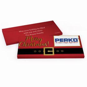 Deluxe Personalized Santa Belt Logo Christmas Chocolate Bar in Metallic Gift Box