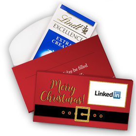 Deluxe Personalized Santa Buckle Add Your Logo Christmas Lindt Chocolate Bar in Gift Box (3.5oz)
