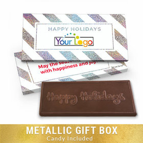 Deluxe Personalized Add Your Logo Happy Holidays Chocolate Bar in Metallic Gift Box