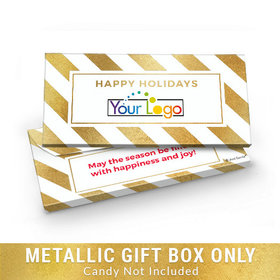 Deluxe Personalized Add Your Logo Happy Holidays Candy Bar Favor Box