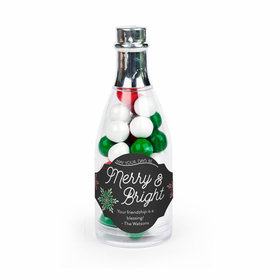 Personalized Christmas Merry & Bright Champagne Bottle with Sixlets Candies (25 Pack)