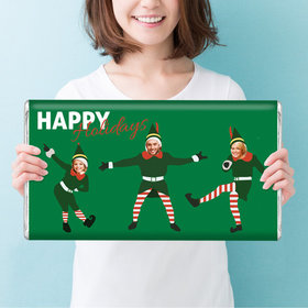 Personalized Dancing Elves Christmas Giant 5lb Hershey's Chocolate Bar