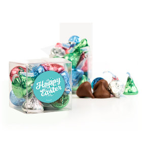 Easter Chevron Egg Clear Gift Box with Sticker - Approx. 16 Spring Mix Hershey's Kisses
