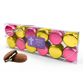 Personalized Easter Purple Cross 12PK Gold & Pink Belgian Chocolate Covered Oreo Cookies