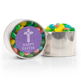 Personalized Easter Purple Cross Spring Mix Jelly Beans Medium Plastic Tin