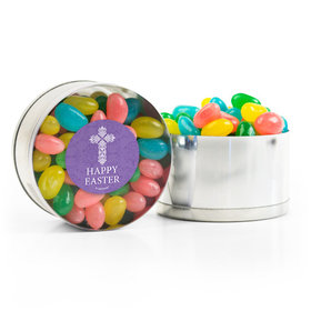 Personalized Easter Purple Cross Spring Mix Jelly Beans Small Plastic Tin