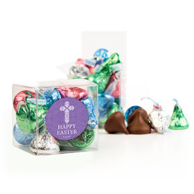 Personalized Easter Purple Cross Clear Gift Box with Sticker - Approx. 16 Spring Mix Hershey's Kisses