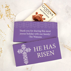 Deluxe Personalized Easter Purple Cross Godiva Chocolate Bar in Gift Box