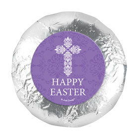 """Personalized Easter Purple Cross 1.25"""" Stickers (48 Stickers)"""