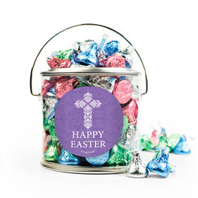 Easter Purple Cross Silver Paint Can with Sticker - 1lb Spring Mix Kisses