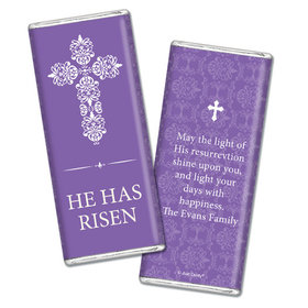 Personalized Easter Purple Cross Chocolate Bar & Wrapper