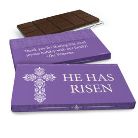 Deluxe Personalized Purple Cross Easter Chocolate Bar in Gift Box (3oz Bar)