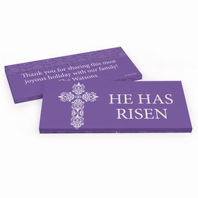 Deluxe Personalized Purple Cross Easter Candy Bar Favor Box