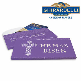 Deluxe Personalized Purple Cross Easter Ghirardelli Chocolate Bar in Gift Box