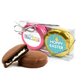 Add Your Logo Easter Blue Dots 2Pk Pink & Gold Foiled Chocolate Covered Oreo Cookies
