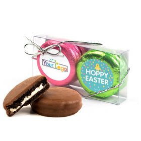 Add Your Logo Easter Blue Dots 2Pk Pink & Lime Green Foiled Belgian Chocolate Covered Oreo Cookies
