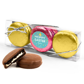 Personalized Easter Blue Dots 3PK Pink & Gold Foiled Chocolate Covered Oreo Cookies