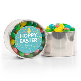 Personalized Easter Blue Chick Spring Mix Jelly Beans Medium Plastic Tin