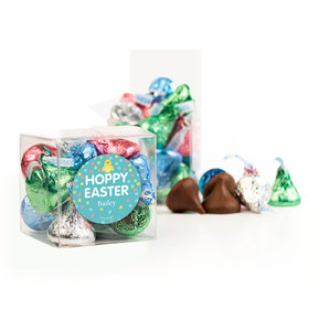 Personalized Easter Blue Chick Clear Gift Box with Sticker - Approx. 16 Spring Mix Hershey's Kisses