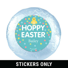 """Personalized Easter Blue Chick 1.25"""" Stickers (48 Stickers)"""