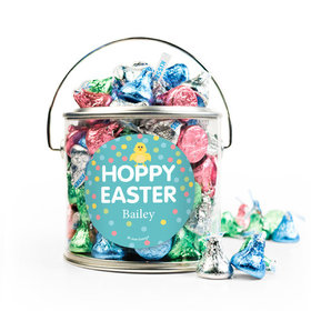 Personalized Easter Blue Chick Silver Paint Can with Sticker - 1lb Spring Mix Kisses
