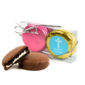 Personalized Easter Blue Cross 2Pk Pink & Gold Foiled Chocolate Covered Oreo Cookies