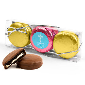 Personalized Easter Blue Cross 3PK Pink & Gold Foiled Chocolate Covered Oreo Cookies