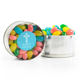 Easter Blue Cross Spring Mix Jelly Beans Small Plastic Tin