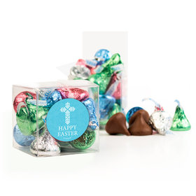 Personalized Easter Blue Cross Clear Gift Box with Sticker - Approx. 16 Spring Mix Hershey's Kisses