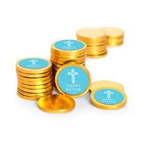 Easter Blue Cross Chocolate Coins with Stickers (84 Pack)