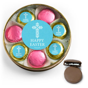 Personalized Easter Blue Cross Chocolate Covered Oreo Cookies Large Plastic Tin