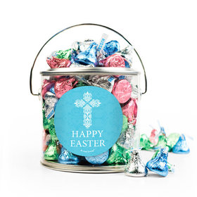 Personalized Easter Blue Cross Silver Paint Can with Sticker - 1lb Spring Mix Kisses
