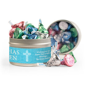 Personalized Easter Blue Cross 8oz Tin with Label