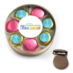 Add Your Logo Easter Blue Cross Belgian Chocolate Covered Oreo Cookies Extra-Large Plastic Tin