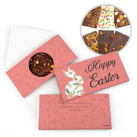 Personalized Easter Floral Bunny Easter Gourmet Infused Belgian Chocolate Bars (3.5oz)
