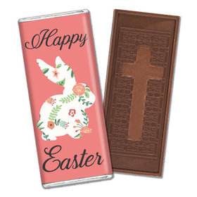 Personalized Easter Floral Bunny Embossed Chocolate Bar