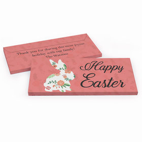 Deluxe Personalized Floral Bunny Easter Embossed Chocolate Bar in Gift Box