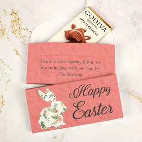 Deluxe Personalized Easter Floral Bunny Godiva Chocolate Bar in Gift Box