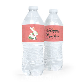 Personalized Easter Floral Bunny Water Bottle Sticker Labels (5 Labels)