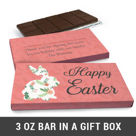 Deluxe Personalized Floral Bunny Easter Chocolate Bar in Gift Box (3oz Bar)