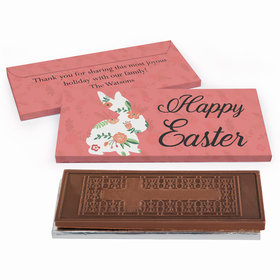 Deluxe Personalized Floral Bunny Easter Chocolate Bar in Gift Box