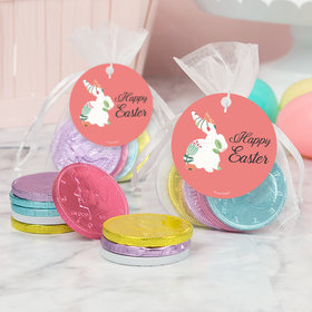 Easter Floral Bunny Chocolate Coins in XS Organza Bags with Gift Tag