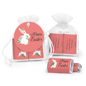 Personalized Easter Floral Bunny Hershey's Miniatures in XS Organza Bags with Gift Tag